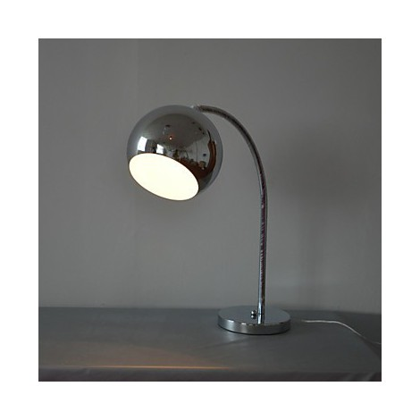 table lamp with metal globe shade and arc lamp arm lighting go