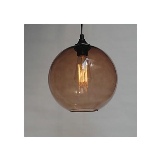 Modern Glass Pendant Light In Round Brown Bubble Design