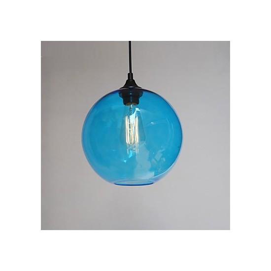 Modern Glass Pendant In Round Blue Bubble Design