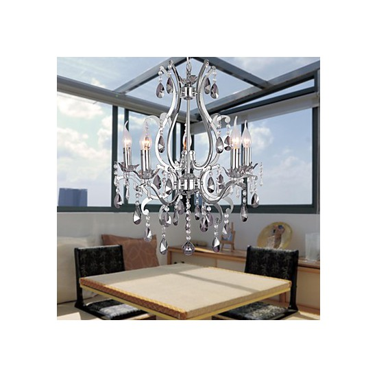Dining Room Chandeliers Traditional: Max 40W Traditional/Classic Chrome Chandeliers Living Room