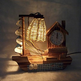 Valentine'S Day Creative Furnishing Articles Gifts Boutique Handicraft Sailboat Wooden With Clock Desk Lamp Led Light