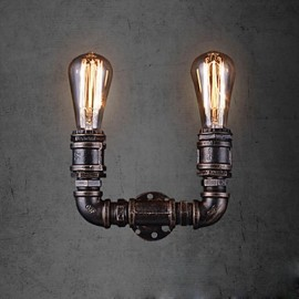 2 Lights Vintage Metal Water Pipe Wall Lamp With Edison Bulb