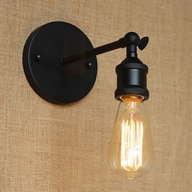 American Restaurant Bar Cafe Bedside Aisle Minimalist Black Wrought Iron Wall Sconce