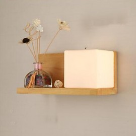 E27 220V 31*14*14CM 10-15㎡ Creative Contemporary And Contracted Solid Wood Glass Wall Lamp