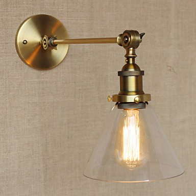 Wall Lamps For Hall : The Iron Glass Bronze Brass Arm Style Retro Creative American Country Hall Bedroom Wall Lamp ...