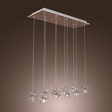 Max 20W Modern/Contemporary Crystal / Bulb Included Chrome Metal Pendant Lights Dining Room
