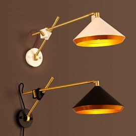 E27 25*15CM 10-15㎡Rural Industrial Wind Restoring Ancient Ways, Wrought Iron Rocker Arm Folded Wall Lamp Led Lights