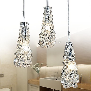 Tradition Classic Transparent glass 3 Light Chandelier