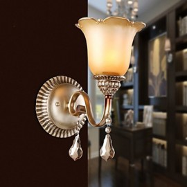 30*30CM Europe Type Restoring Ancient Ways, Wrought Iron Bedroom Crystal Glass Wall Lamp LED Light