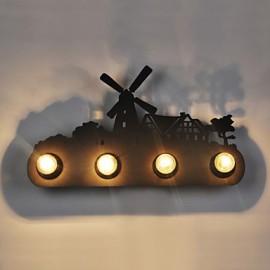 4 Lights American Village Pastoral LOFT Style Bedroom Aisle Iron Retro Wall Lamps