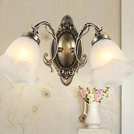 42*22CM Retro Glass Simple European Modern Elegance, Wrought Iron Wall Lamp LED Light