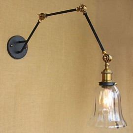 American Country Simple Retro Glass Lampshade Three Adjusting The Length Of The Long Arm Tube Wall