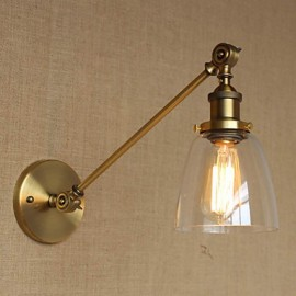 The Iron Glass Bronze Brass Arm Style Retro Creative American Country Hall Bedroom Wall Lamp