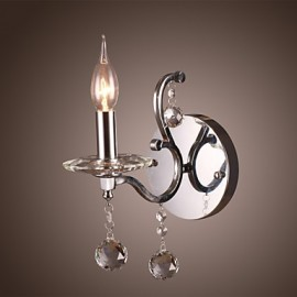 Silvery Crystal Wall Light with 1 Lights