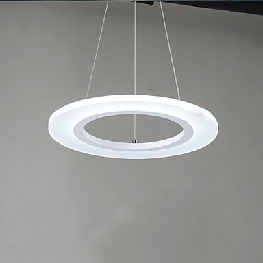 LED Pendant Light Round Ceiling Chandelier Milky Acrylic Ceiling Lamps with Single Ring D50CM Ac 100 to 240v
