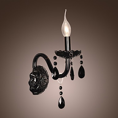 Black Crystal Wall Light with Candle Bulb - LightingO