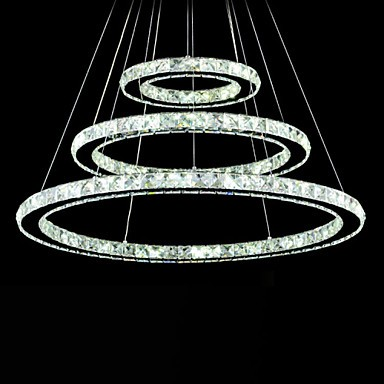new arrival c63d3 456bc Dimmable LED Crystal Pendant Light Modern Circular Chandelier Lighting  Lamps Cool White Round Ceiling Lights Fixtures with Remote Control
