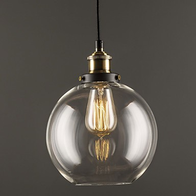 Industrial Factory Pendant Lamp Antique Brass One Light Fixture Glass Shade Cafe Dining Room
