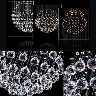 LED Pendant Light Modern Crystal Chandelier 5 Lights Silver Canpoy Clear Crystal Globe Ceiling Lamps Fixtures H130CM