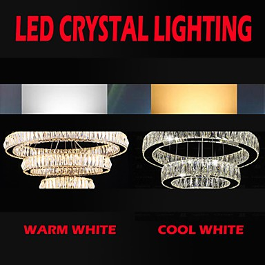 LED Crystal Chandelier Lights Modern Lighting Three Rings D305070 K9 Large Crystal Hotel Ceiling Light Fixtures