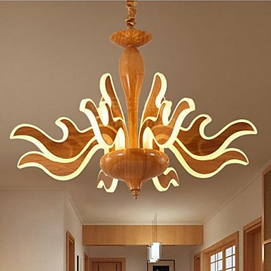The Art Of Imitation Wood Grain Imported Acrylic Chinese Simple Hotel Chandelier