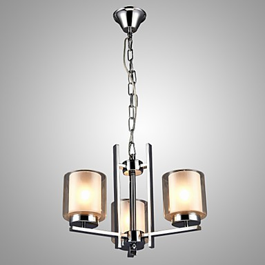 Iron Electroplated Chandelier with Glass Shade Classic Candle Lighting Lamp 3 Heads