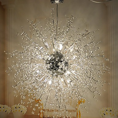 3 Modern/ Lantern / Globe Crystal / LED / Bulb Included Chrome Metal Flush Mount