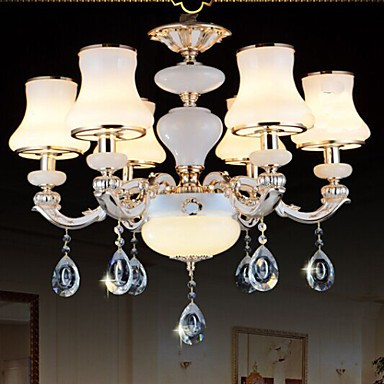 The luxurious Natural Jade Pendant lamp Of The European Crystal Pendant lamp