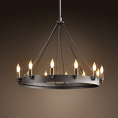 60W E27 Retro Style Iron Pendent Light with 12 Lights in Candle Feature