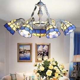BOXIMIYA The Mediterranean Sea, Rural Sitting Room Dining-Room Creative 8 + 1 Head Lamps And Lanterns