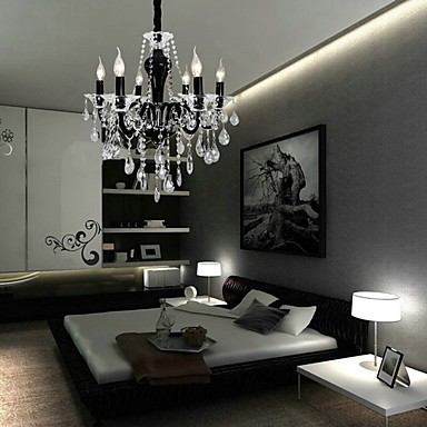 6-Light Crystal Chandelier in Black Design Accent