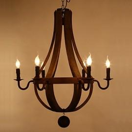 Vintage Amercian Rustic Wooden Pendant Wine Barrel Chandelier Lamp Liviing and Bedroom Lamp