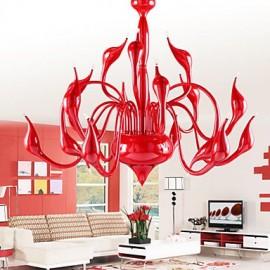 Modern Chandelier Light 18 Lights LED G4 Red Painting/ Bulb Included/ Living Room / Bedroom