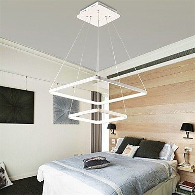 pictures of contemporary bedrooms modern design 48w led pendant light two rings squareness 16659