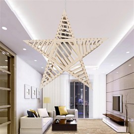 12W Vintage LED Five-pointed Star Wood Chandeliers Living Room / Bedroom / Dining Room / Study Room/Office / Hallway