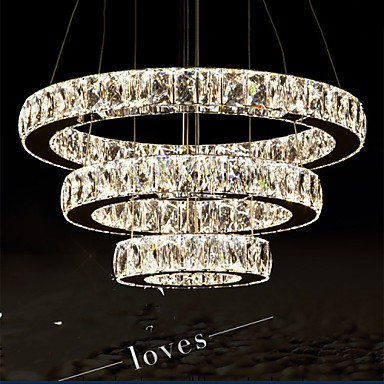 LED Pendant Light Modern Lighting Warm White Three Rings D204060 Transparent K9 Large Crystal Hotel Ceiling Lights