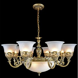 Bronze Chandeliers Eleven-Lights Moire-Glass European Retro Classic 220V
