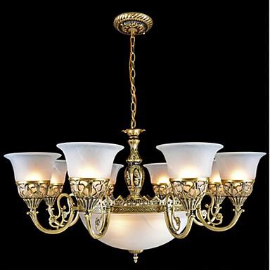 Bronze Chandeliers Eleven-Lights Moire-Glass European Retro Classic 220V