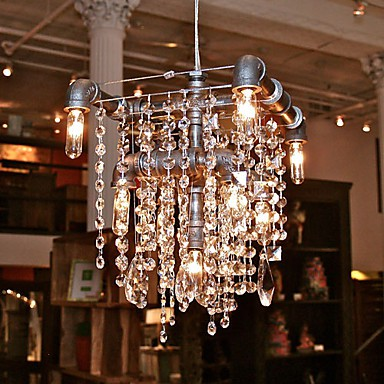 North American-Style Characteristic Crystal 9 Light Chandelier In Pipe Design