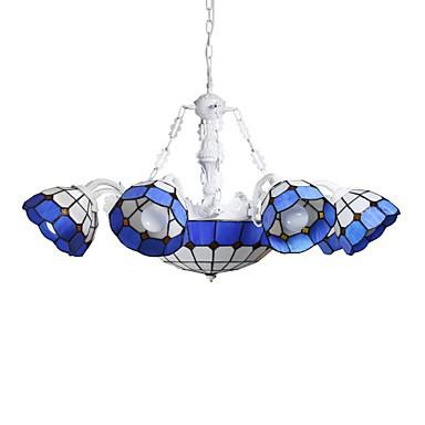 BOXIMIYA The Mediterranean Sea, Rural Sitting Room Dining-Room Creative 6 + 1 Head Lamps And Lanterns