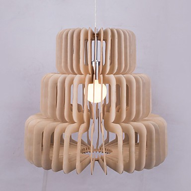 12W Vintage LED Three Layer Cake Wood Chandeliers Living Room / Bedroom / Dining Room / Study Room/Office / Hallway