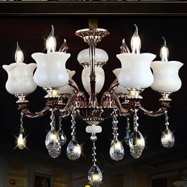 Jade Zinc Alloy Pendant lamp 6 Light Chandeliers