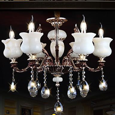 Jade Zinc Alloy Pendant lamp 6 Light Chandeliers