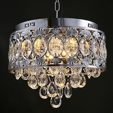 Elegant Modern Transparent Crystal Chandelier with 4 Lights