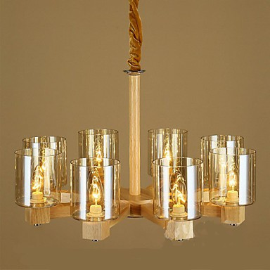 Fashion Personality Pendant lamp Coffee Bar Table Wooden Glass Cover 8