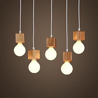 Nordic Ikea Solid Wood Square Lamp Holder Sitting Room Dining Room Bar Droplightlamp Led Light