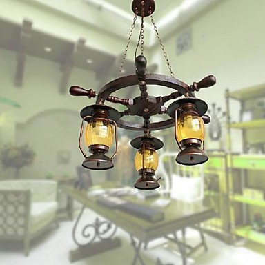 Retro Painting Wood/Bamboo Chandeliers