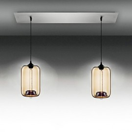 Modern Transparent Glass Pendant Lights with 2 Lights in Bubble Design