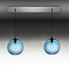 2 - Light Modern Glass Pendant Lights in Round Blue Bubble Design