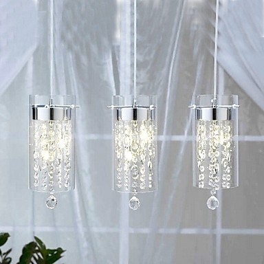 Artistic Crystal Pendant Lights With Glass Shades G4 Bulb